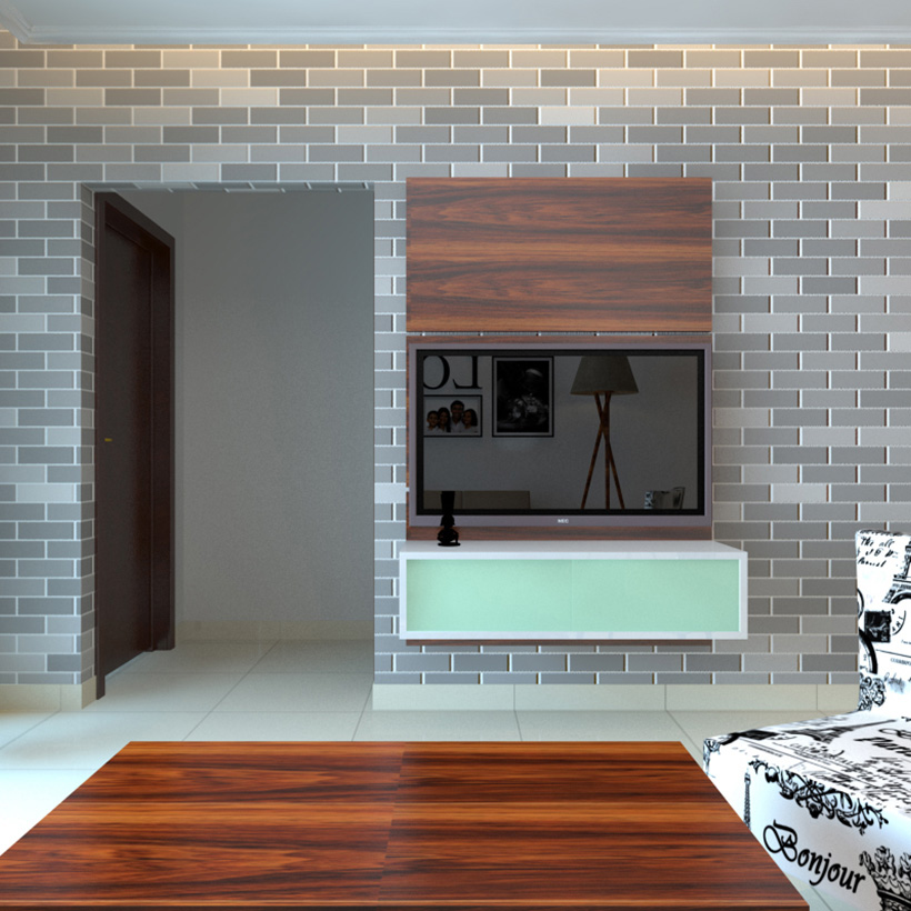 TV Showcase design in wall with brick theme wall design which is a tv showcase new wall design 2019