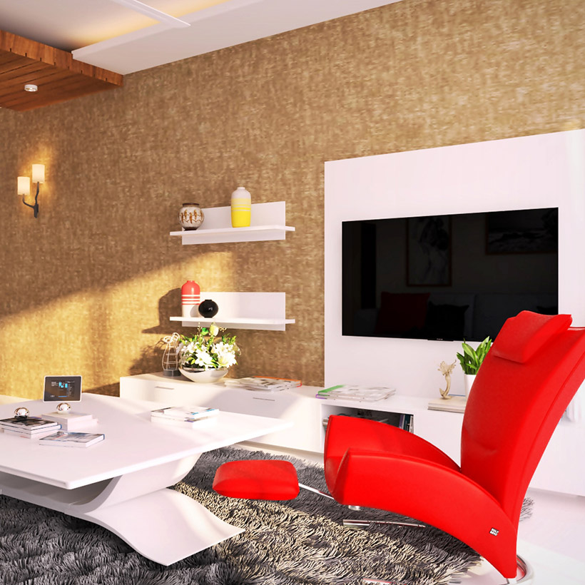 Tv showcase design model with floating shelves and a floating style of table with a big relaxing chair for corner