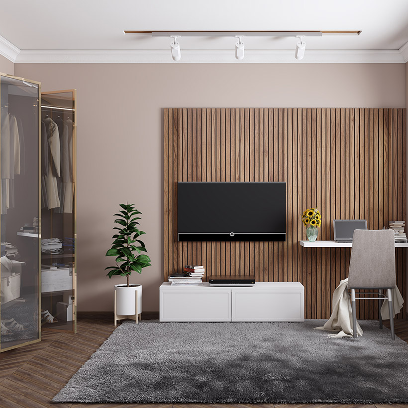 Tv showcase design with back wooden panel with white base cabinet tv unit designs in the living room looks sleek