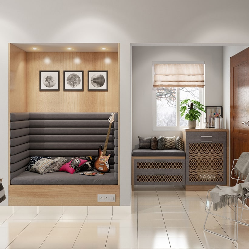 Entrance foyer design with seating, table and storage space makes a home entrance beautiful.