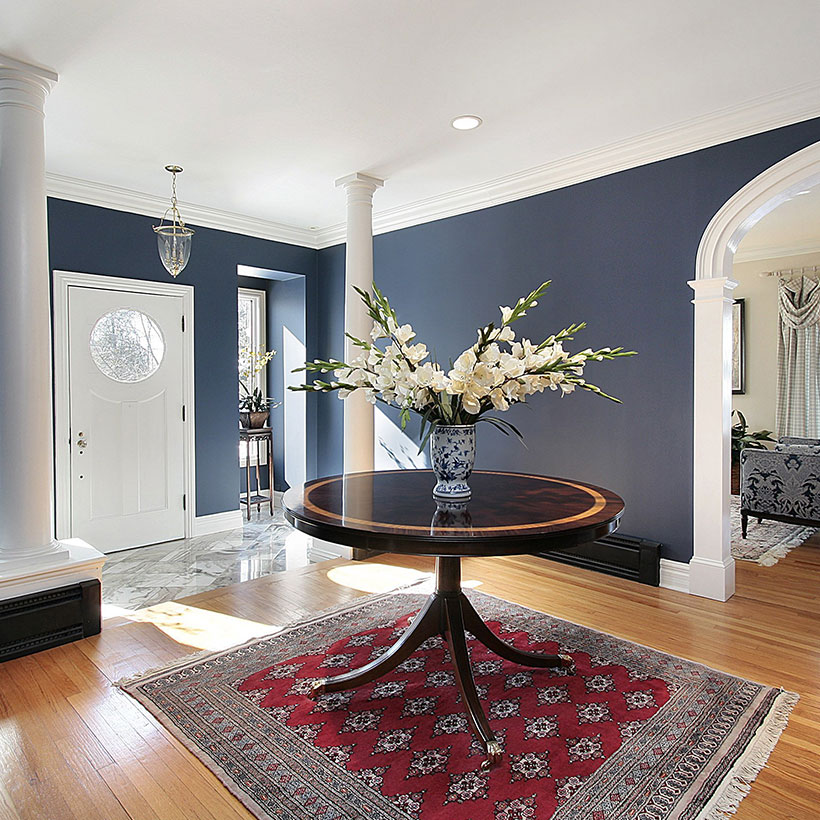 Entrance decoration using table, modern entrance arch design, foyer wallpaper, wall decor, door design.