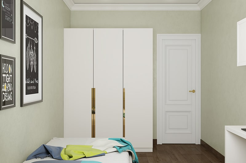 Paneled bedroom door design in wood with raised panel adds elegance to this simple modern bedroom