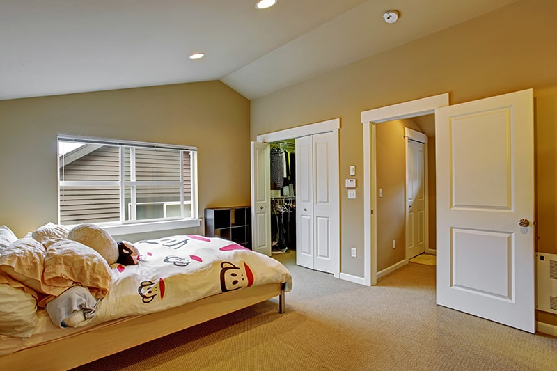 Sliding door design for the bedroom, its saves space in this small bedroom for your home