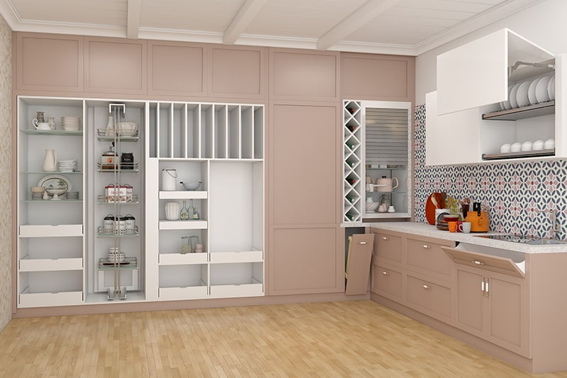 Glass shelves for kitchen by using glass mixed in with metal and wood, it's an innovative idea for kitchen shelves