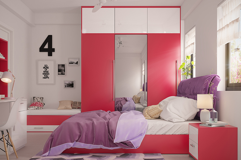 Wooden wardrobe online with shadow of the rainbow reflected in the bedroom with wooden wardrobe for bedroom
