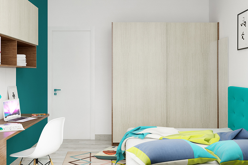 Plywood wardrobe design with a wooden finish with big storage space in plywood wardrobe designs india