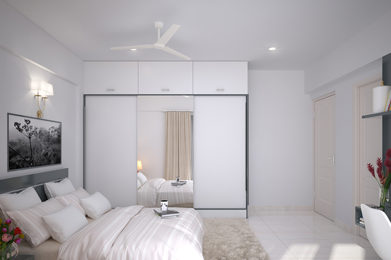 Wooden wardrobe design of white colour with liftable cupboards on the top and a wooden wardrobe with mirror