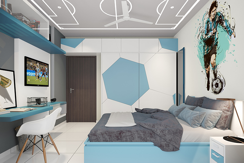 Modern wardrobe designs for small bedroom with a football theme and a ball printed on the wardrobe in modern wardrobes for small bedroom