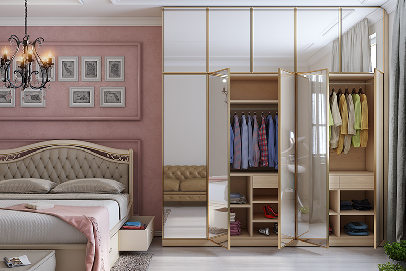 Modern wardrobe designs for bedroom indian with whole glass shutters of mirror and a pink theme room