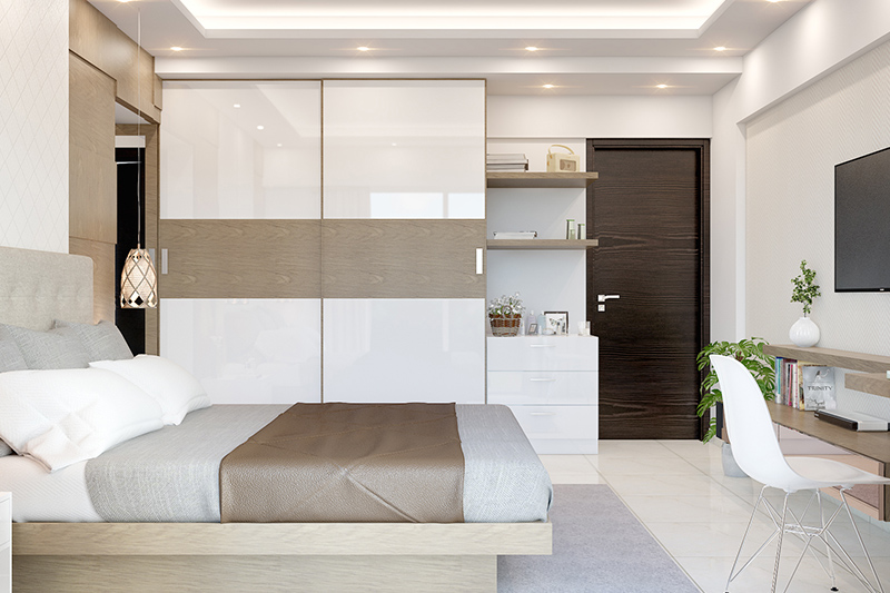 Modern bedroom wardrobe designs images with beautiful textured doors of glass and wood