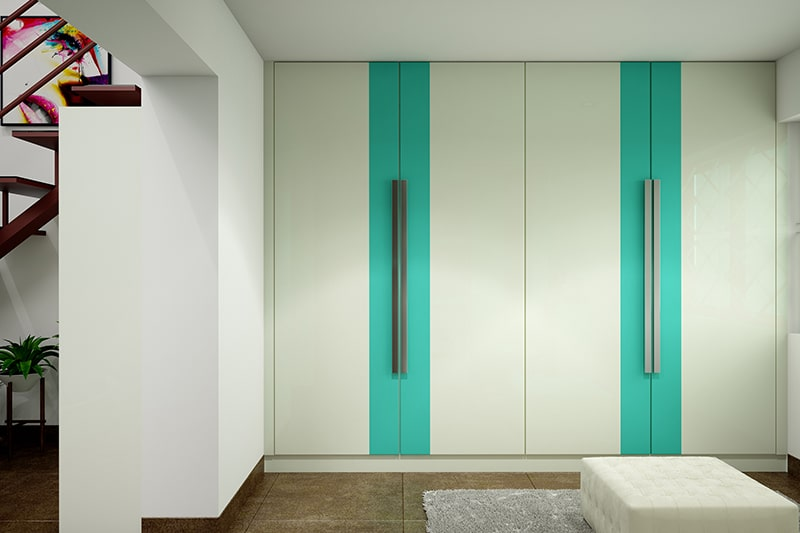 Straight modular wardrobes to be complementing the bedroom while blending in all the time