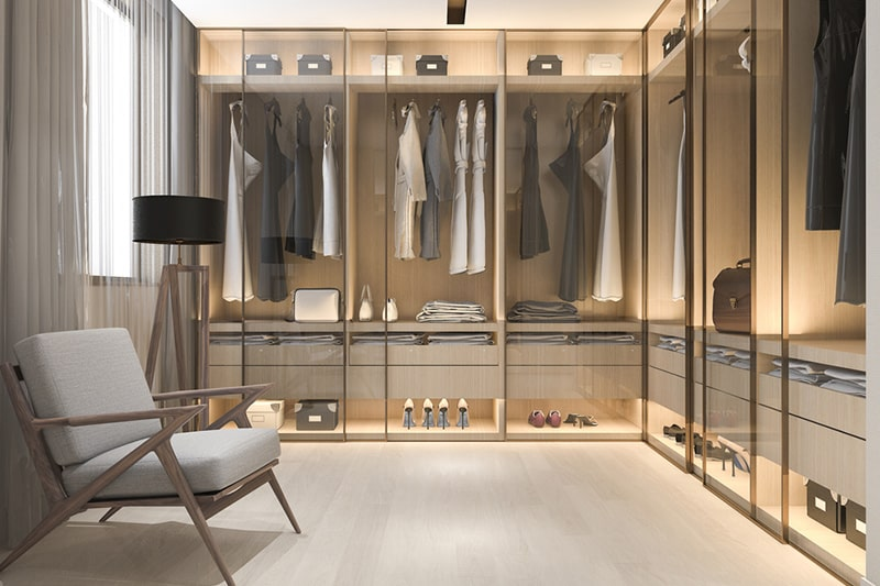 L shaped modular wardrobes afford plenty of space and storage