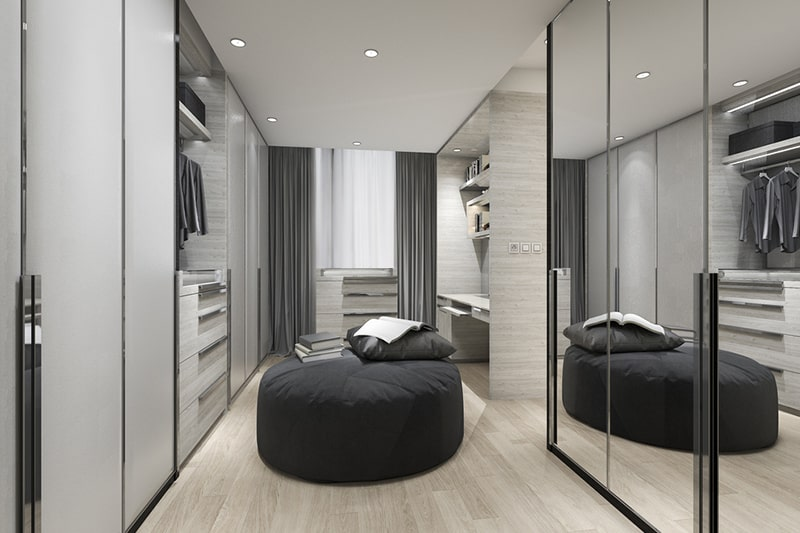 Walk-in modular wardrobes build floor to ceiling shelves, some attractive lighting place for clothes