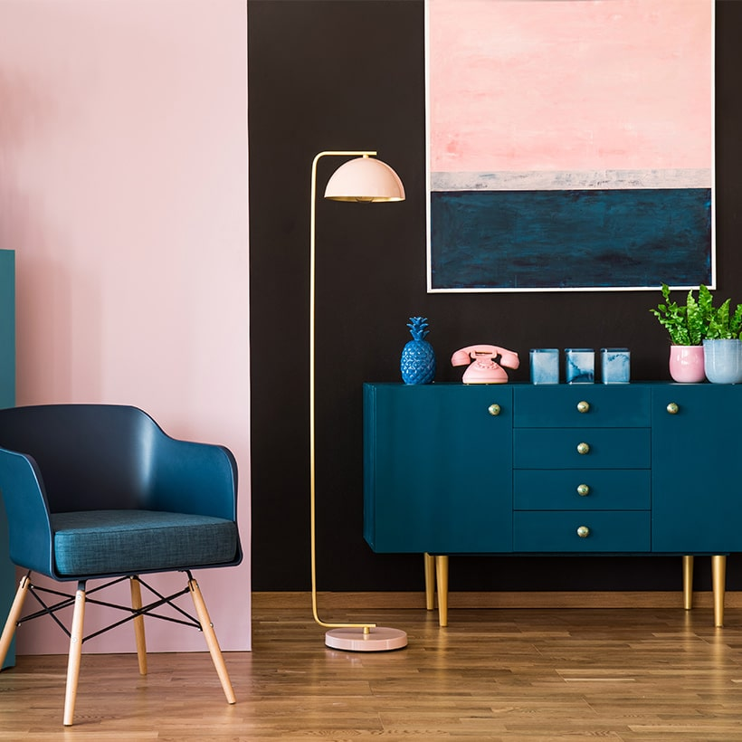 Home interiors color trends 2020 with pantone classic blue sideboards and kitchen cabinets