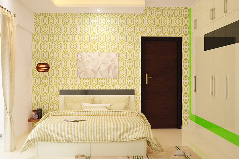 Wallpaper design for bedroom with a bright yellow colour rangoli design wallpaper for a style of bedroom wallpaper india