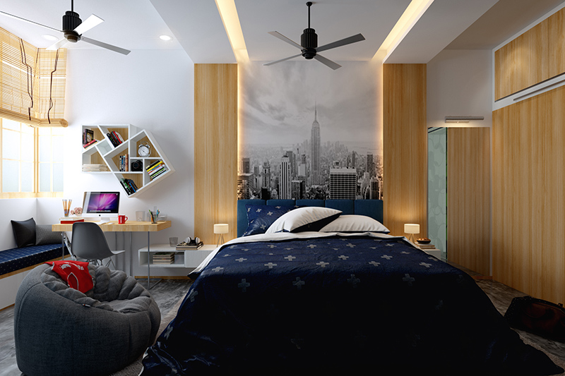 Wallpaper for bedroom walls with a city view and pillars on both sides of a master bedroom wallpaper