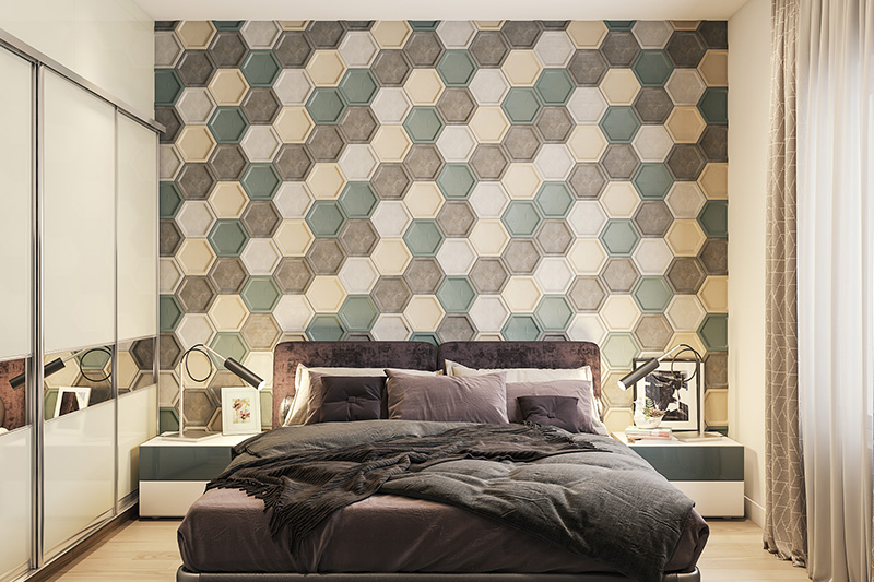 3d wallpaper for bedroom walls with different coloured hexagons printed on the whole wall in a bedroom wallpaper texture