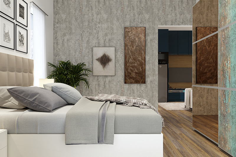 Bedroom wallpaper design with a grey texture of sand with a mat finish in wallpaper bedroom design ideas