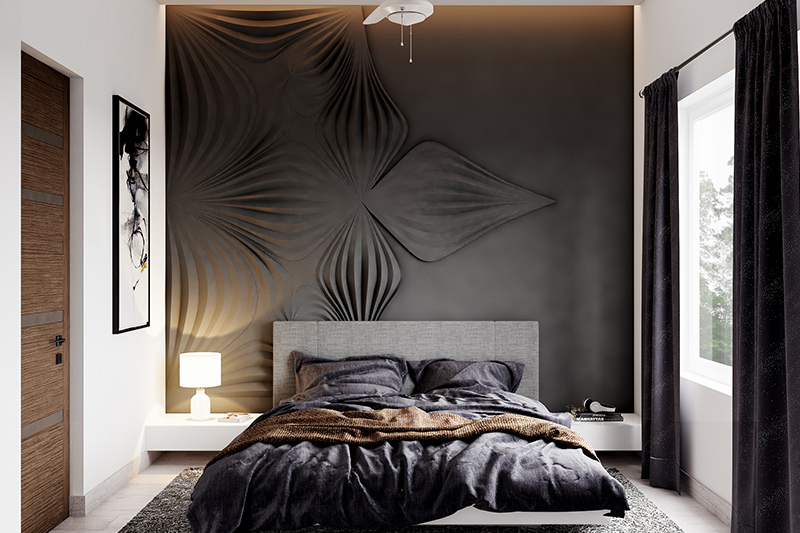 Wallpaper for bedroom wall India with a beautiful black velvet wallpaper for bedroom design