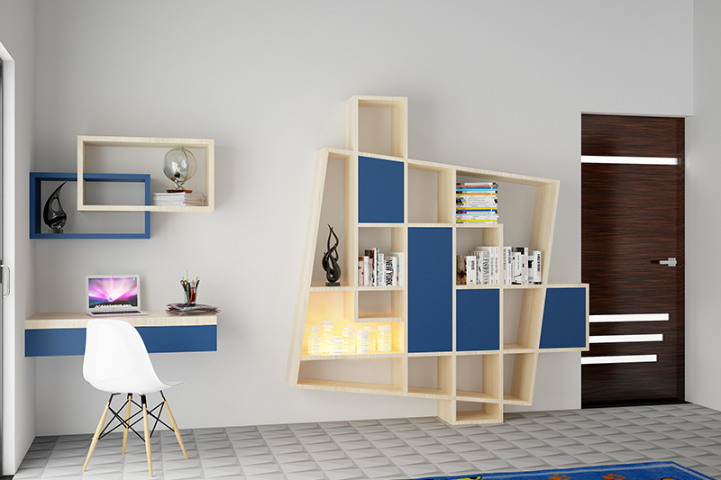 Exposed shelf bookcases in blue and beige add a much needed pop of colour in this bedroom. Their unusual design is also eye-catching
