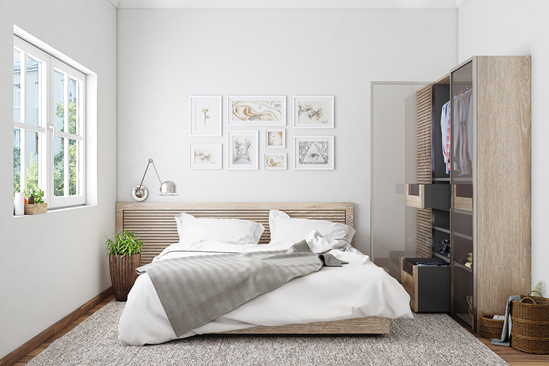 White on white, ably supported by beige, this bedroom redefines minimalist chic. It narrates and links a bedroom that is beautiful to behold and functional in its use