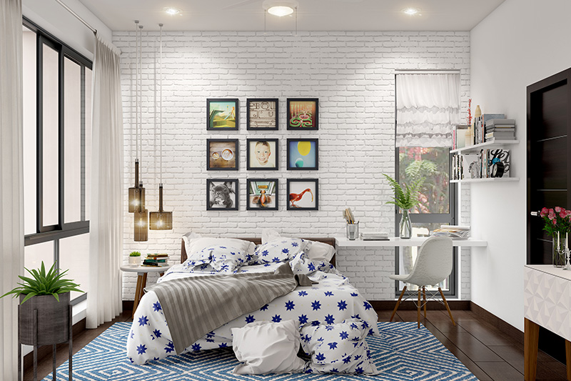 Interior design bedroom furniture with a brick wallpaper on the wall and a side table for work with a couple of book shelves in kids designer bedroom furniture