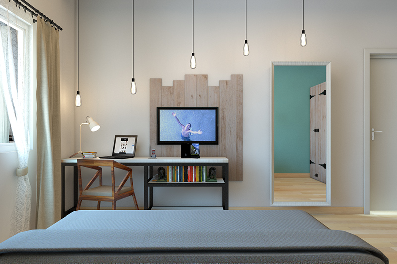 Pvc furniture design bedroom with a industrial style table and a wooden chair with ascending lighting