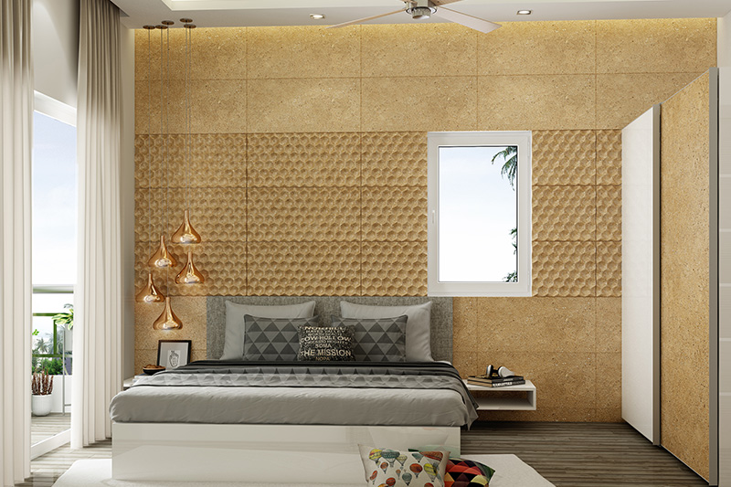 Bedroom furniture design with lighting and big board on the head side of the bed