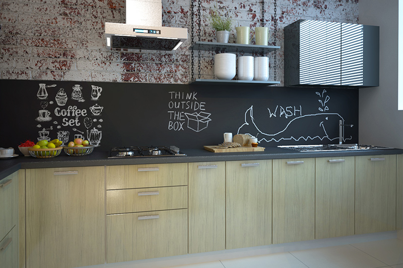 Kitchen wallpaper with a chalk board printed on the backsplash and brick style above it in kitchen wallpaper patterns