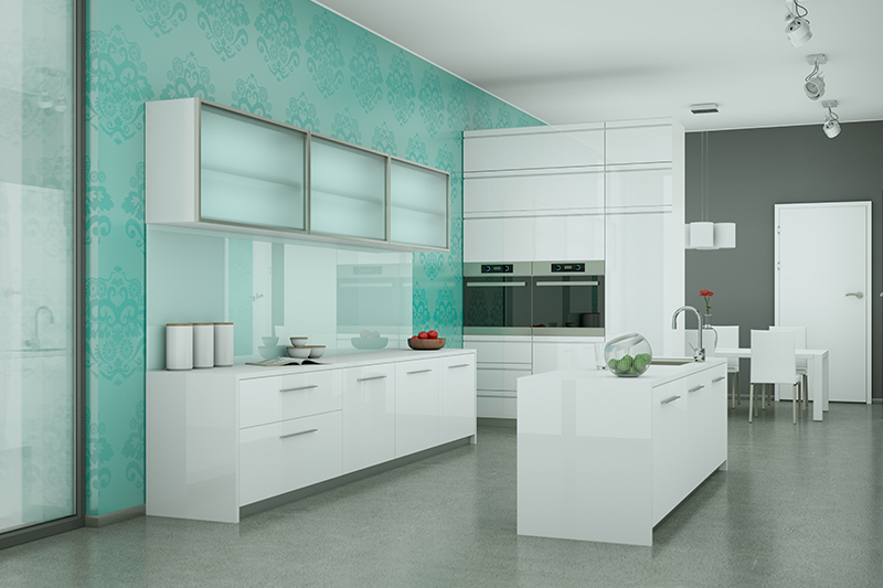 Kitchen tile wallpaper with a green coloured classic printed wallpaper which is as a self adhesive kitchen wallpaper design