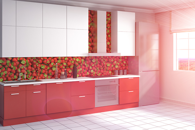 3d wallpaper for kitchen with cherries printed on it which looks like cherries coming out of it which is a kind of best kitchen wallpaper for indian homes