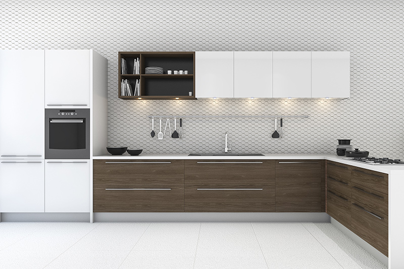 Washable kitchen wallpaper with thousands of curved hexagon patterns connected to each other with a light colour which is also a removable wallpaper kitchen