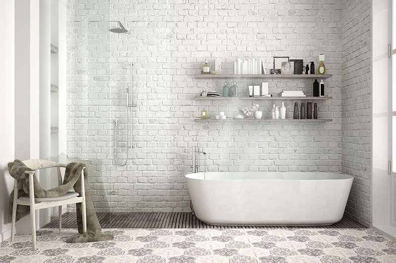 Best tile for bathroom floor with white colour bricks on the wall and grey flower prints on the floor for bathroom floor tiles design