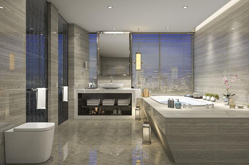 Small bathroom floor tile ideas with a shiney grey tile matching to the bathroom floor tiles design