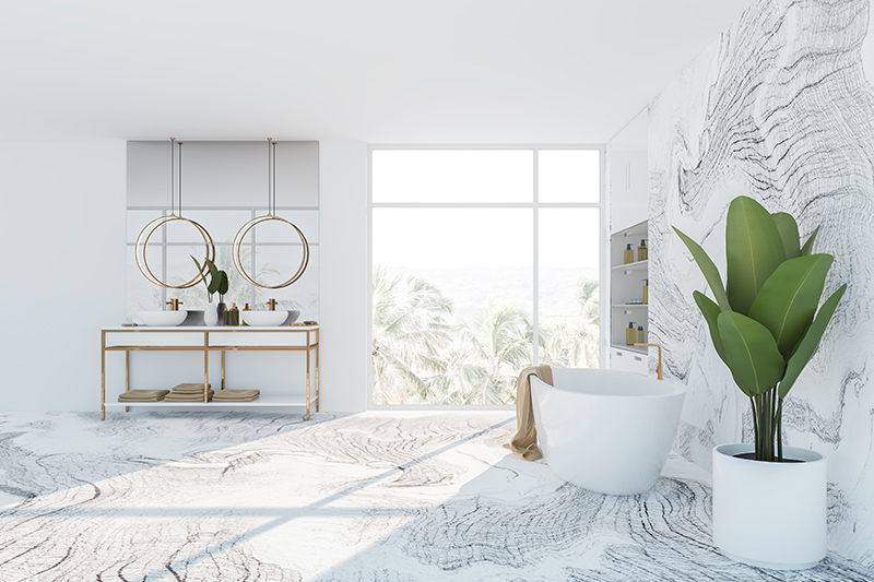 Ceramic tile bathroom floor with white colour tiles same texture on wall and bathroom floor tiles design