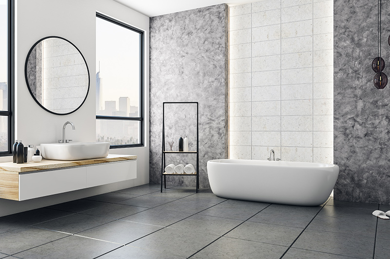 Best tile for small bathroom floor of grey colour in wall and floor tiles design for bathroom