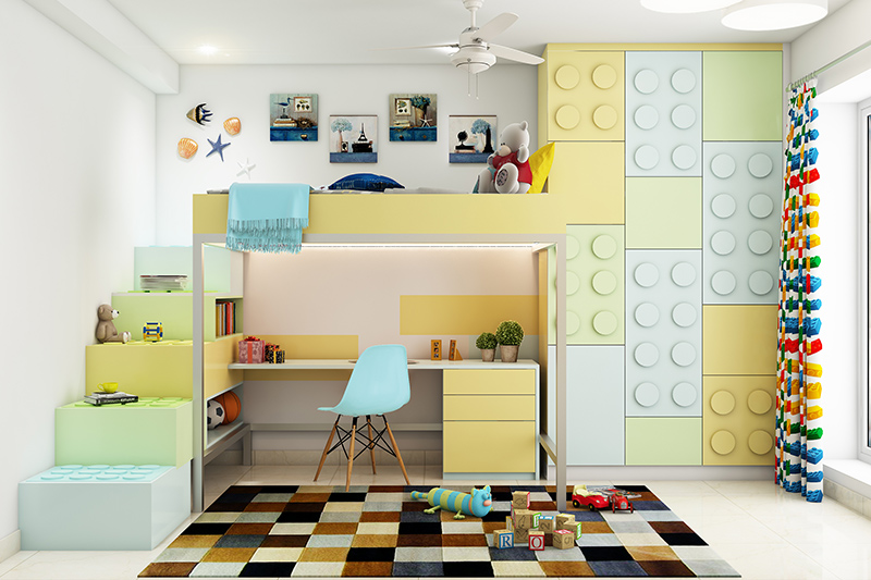 Kids bedroom furniture with a toy themed cupboard stairs going to the bed of the kid in bedroom furniture for small rooms child