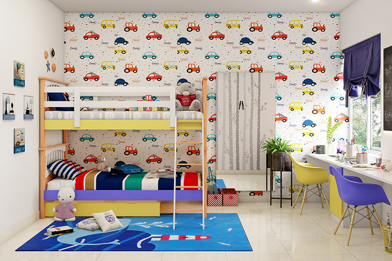 Childrens bedroom furniture for small rooms with car theme wallpaper made up of small cars and a bunk bed which contributes to childrens bedroom furniture ideas