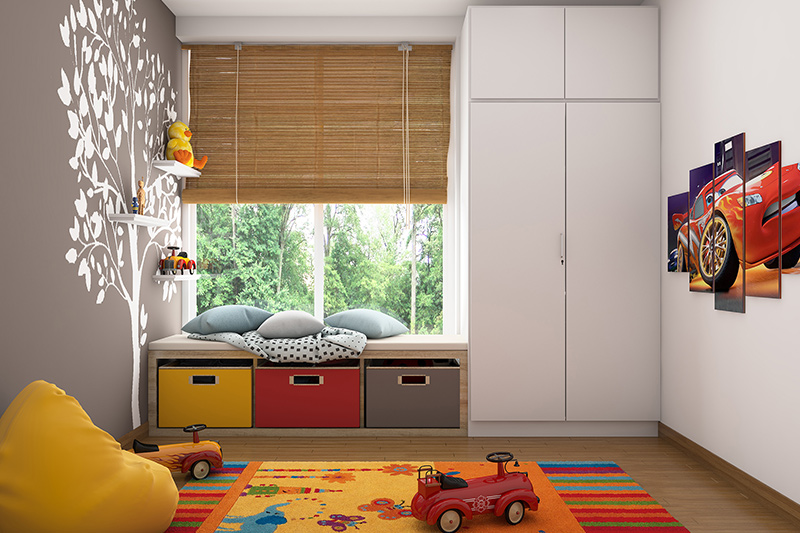 Master bedroom furniture ideas with short cupboard attached to the window where you can sit and a big white cupboard attached to it and room filled with toys in childrens themed bedroom furniture