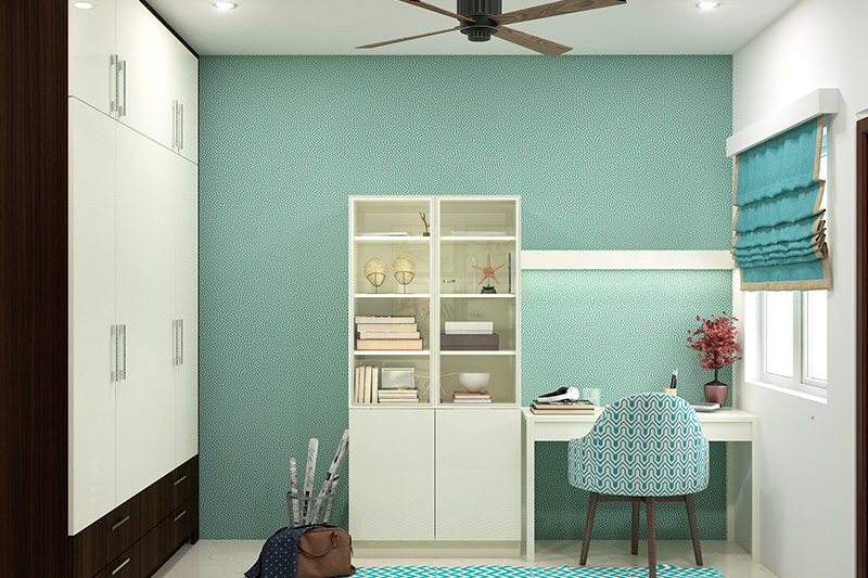 Child bedroom furniture design with a glass wardrobe and a study table attached to it with a green textured wall in bed design ideas furniture