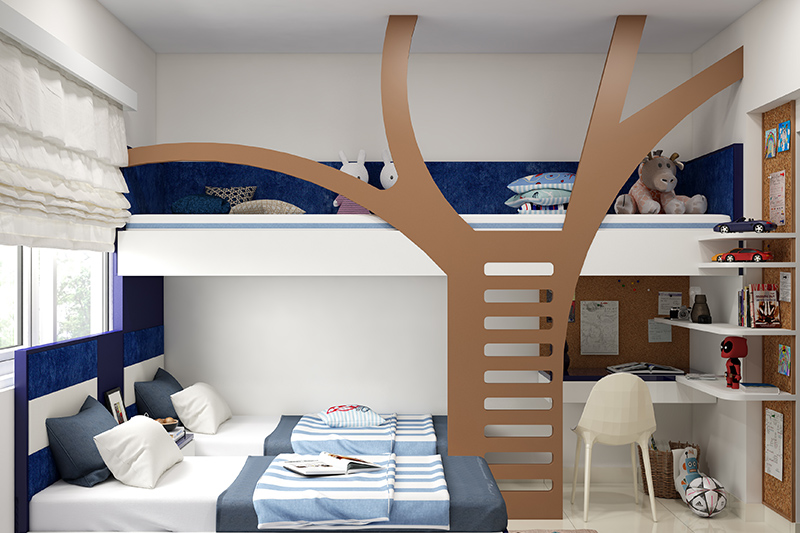 Toddler bedroom furniture with a tree style stairs going to the bunk bed and two beds in the bedroom with a study table in bed furniture ideas