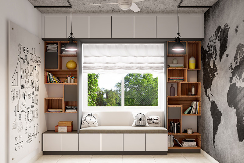 Kids bedroom furniture ideas with cupboards attached on both sides of the window and a seating attached to the window for bedroom furniture and decorating ideas.