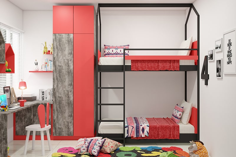Best girl's bedroom idea for small rooms with bunk beds