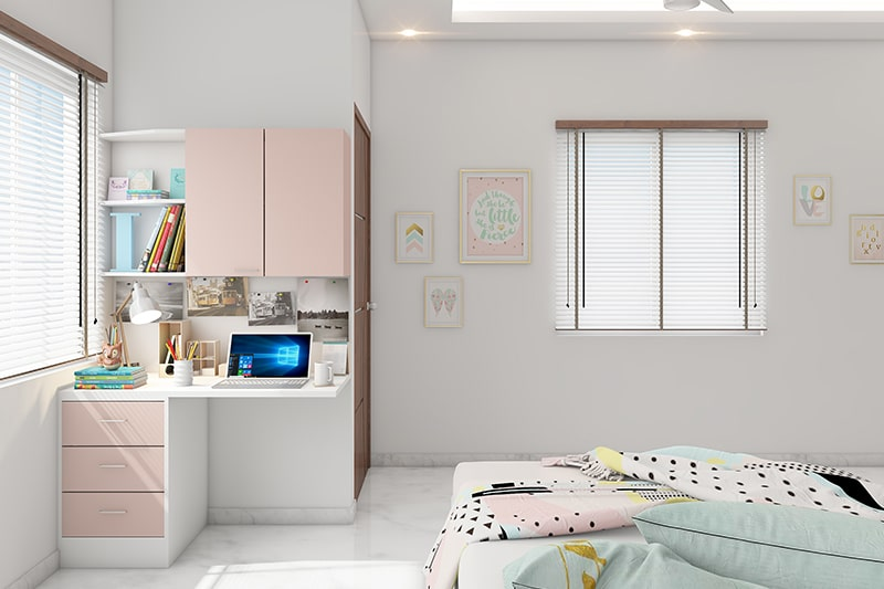 Space saving furniture for teenage girls bedroom with a floating study table built in a small corner provides storage