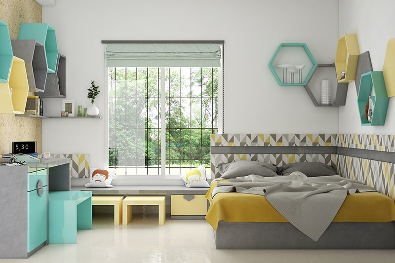 Space saving idea for teen girl bedroom with a window seat as storage