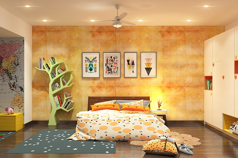 Paint colours for girls bedroom like a rich shade of orange mixed in with yellow