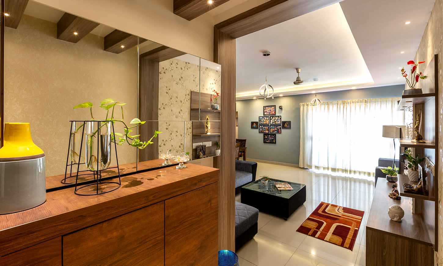 Living room with open kitchen with good interiors in bangalore