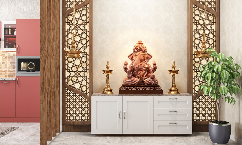 Vastu ganesha entrance with a seperate room for lord ganesha with a rustic feel of the moorti of vaastu ganesha pictures