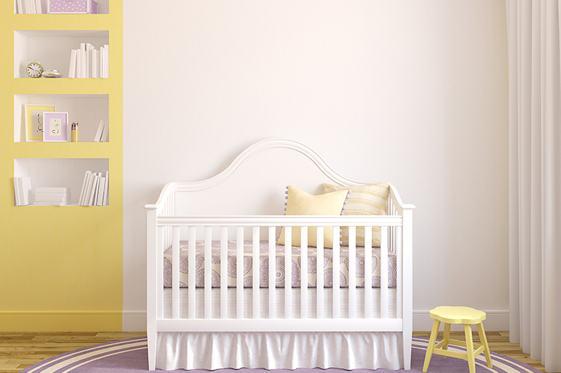 Baby girl nursery decorating ideas with an elegant bookcase for baby girl nursery designs