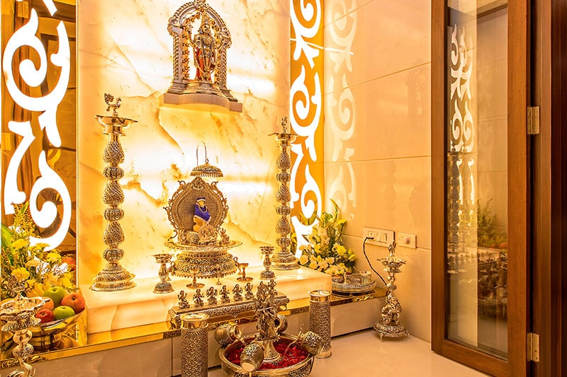 According to vastu for home plan, pooja room should be placed in the east or north-east zone